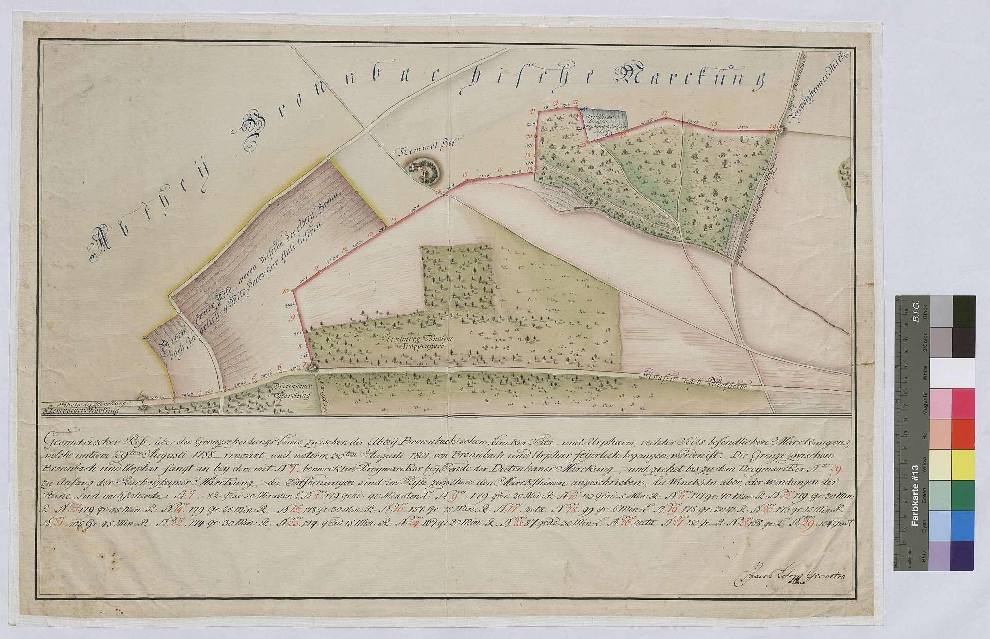 Geometrischer Riss über die Grenzscheidungslinie zwischen der Abtei Bronnbachischen linkerseits und Urpharer rechterseits befindlichen Markungen (Inselkarte), Bild 1
