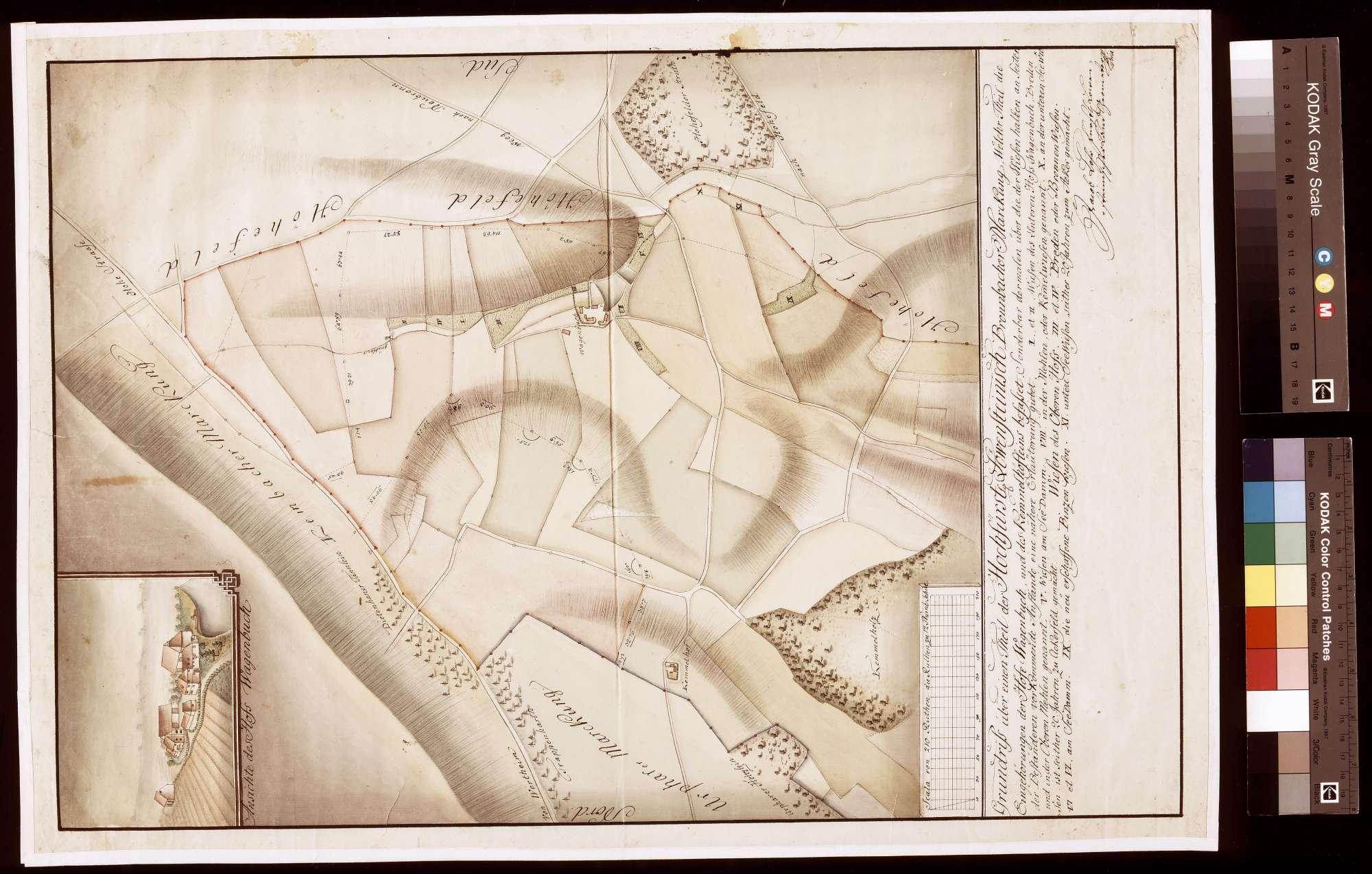 Grundriss über einen Teil der Bronnbacher Markung, welcher Teil die Eingehörung der Höfe Wagenbuch und des Kemmelhöfleins befasset (Inselkarte), Bild 1