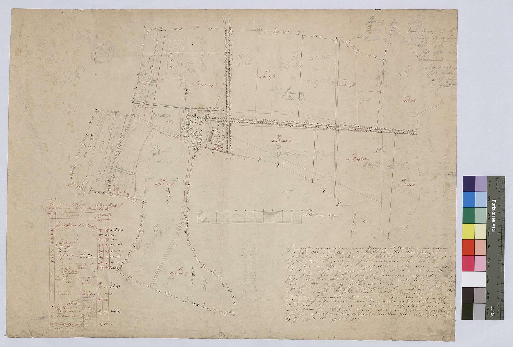 Grundriss über die 1809 neu gesetzten Grenzsteine am Hinteren Meßhof (Inselkarte), Bild 1