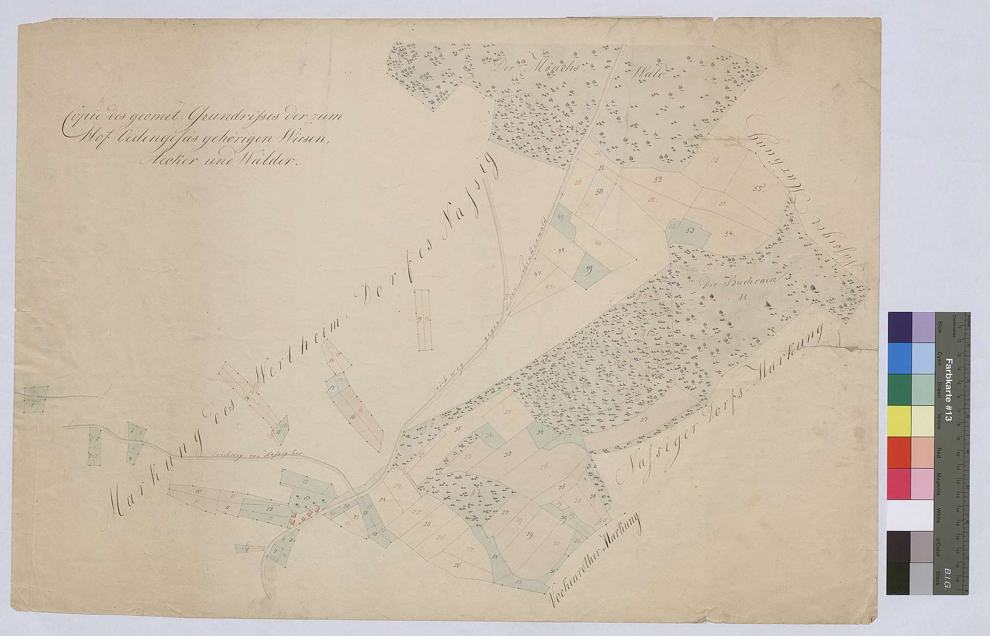 Zum Hofgut Ödengesäß gehörige Wiesen, Äcker und Wälder (Inselkarte), Bild 1