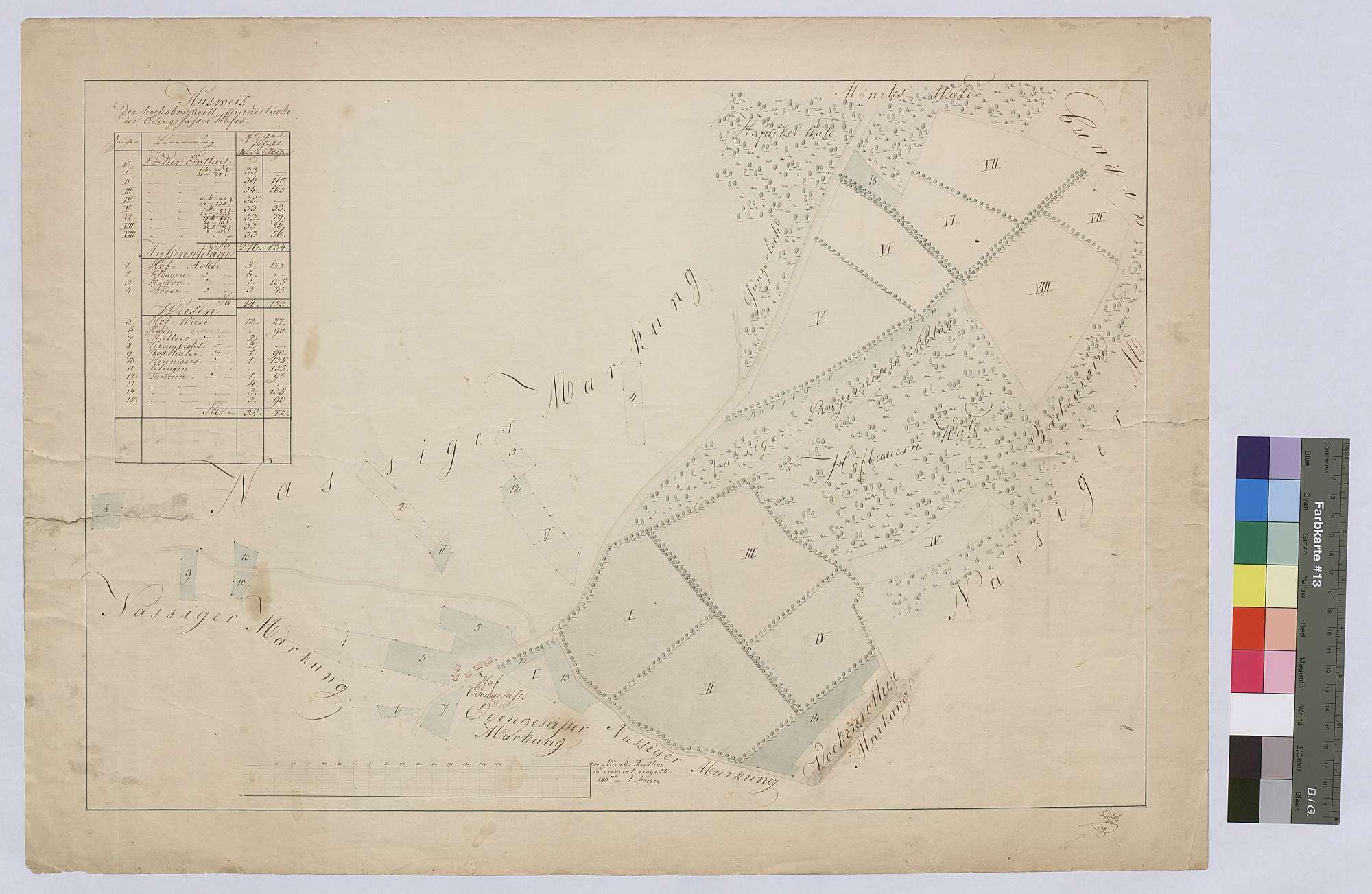 Grundstücke des Ödengesäßer Hofes (Inselkarte), a