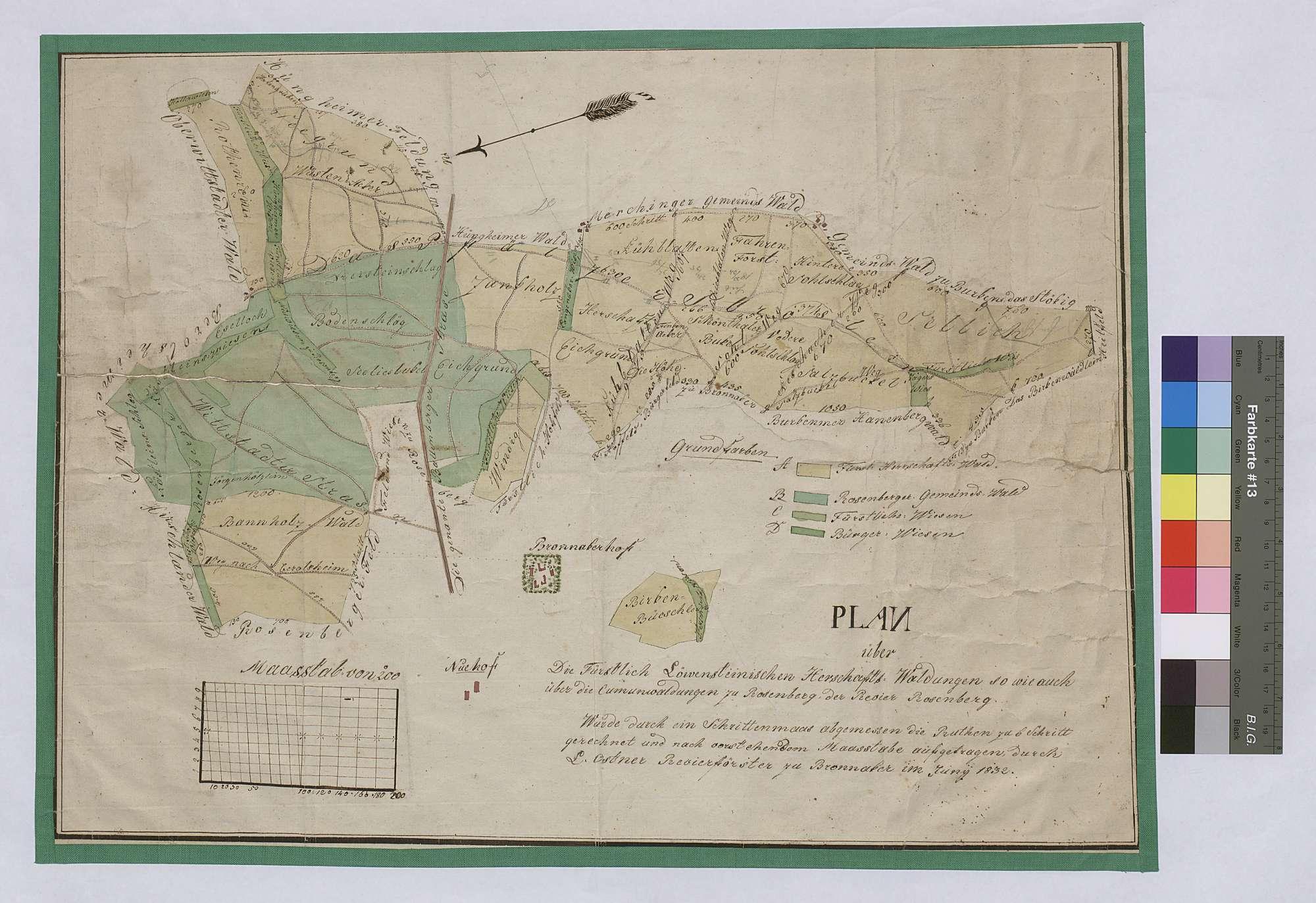Herrschaftswaldungen sowie auch die Kommunwaldungen zu Rosenberg (Inselkarte), Bild 1