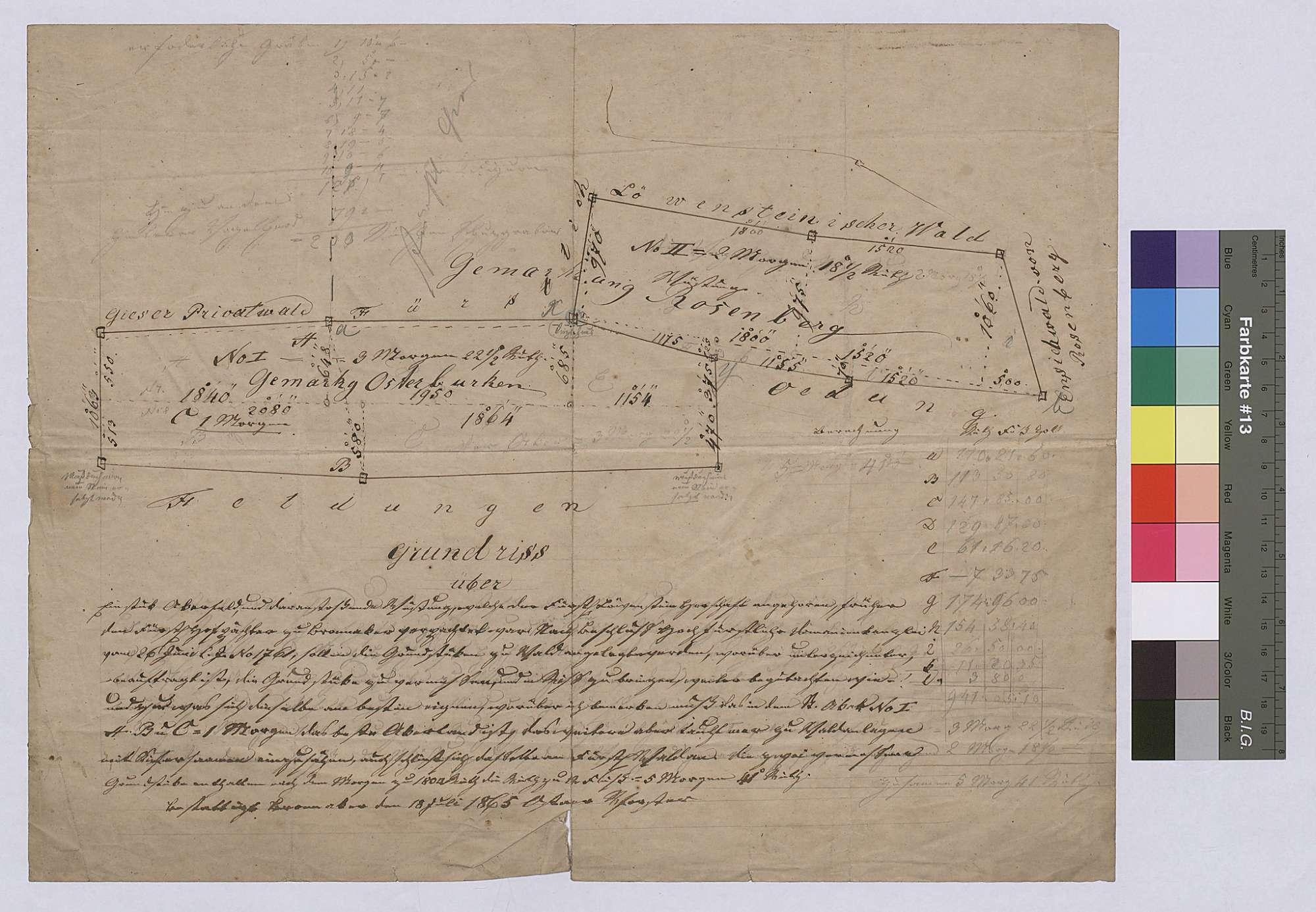 Grundriss über ein Stück Ackerfeld und daranstoßende Wüstung, welche der Herrschaft angehören, früher dem Hofpächter zu Bronnacker verpachtet waren (Situationsplan), Bild 1