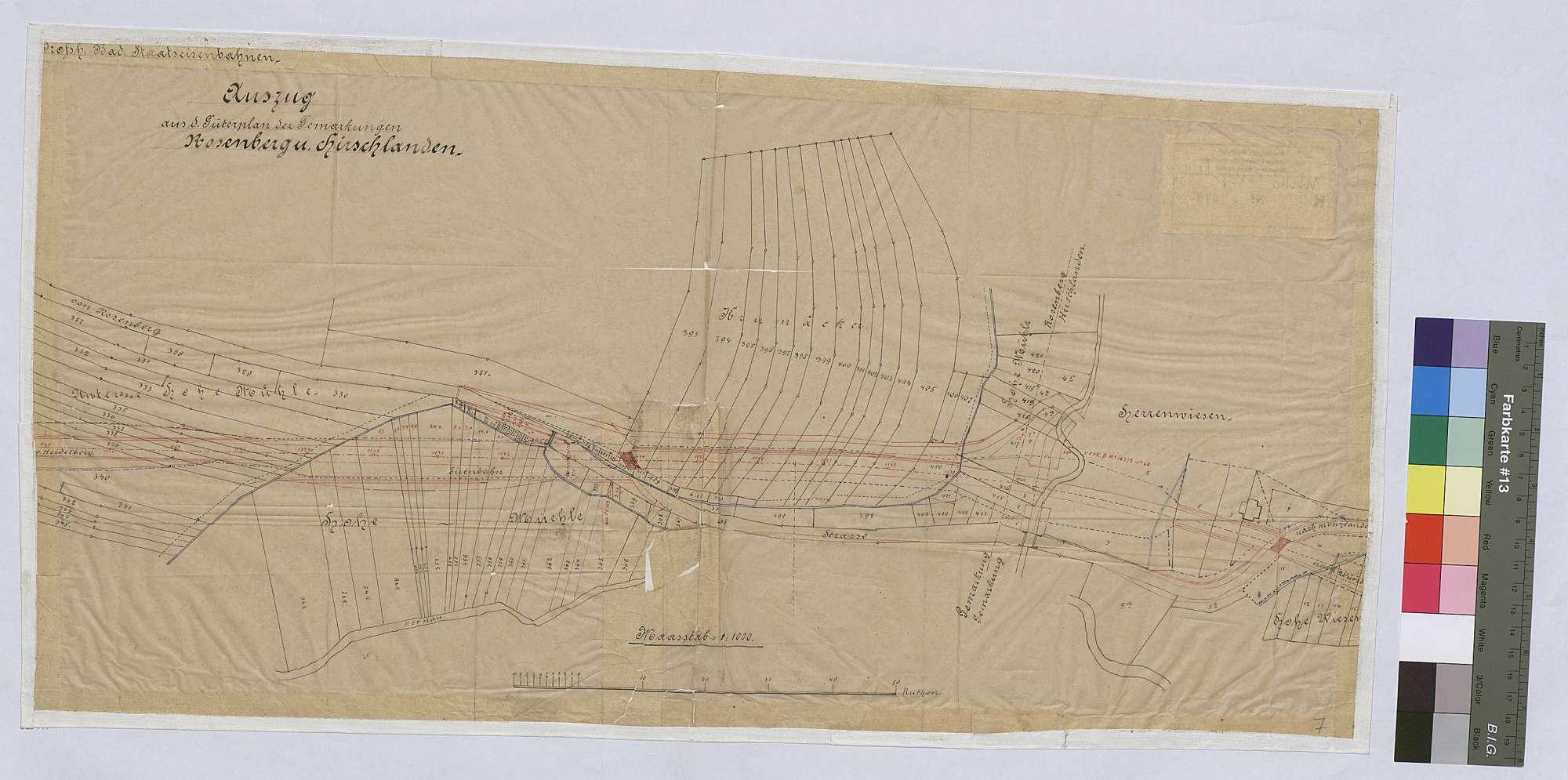Auszug aus dem Güterplan der Gemarkung Rosenberg und Hirschlanden [zum Bau der Eisenbahnstrecke Osterburken - Lauda] (Inselkarte), Bild 1