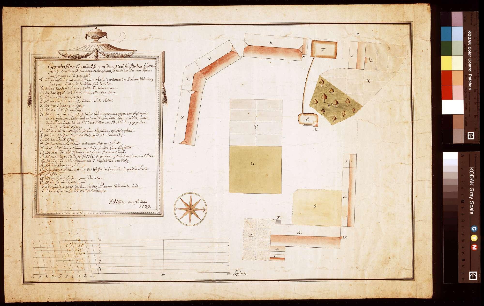 Geometrischer Grundriss von dem Privathof zur alten Heid genannt, so nach der Dezimalrute aufgenommen und gezeichnet (Inselkarte), Bild 1