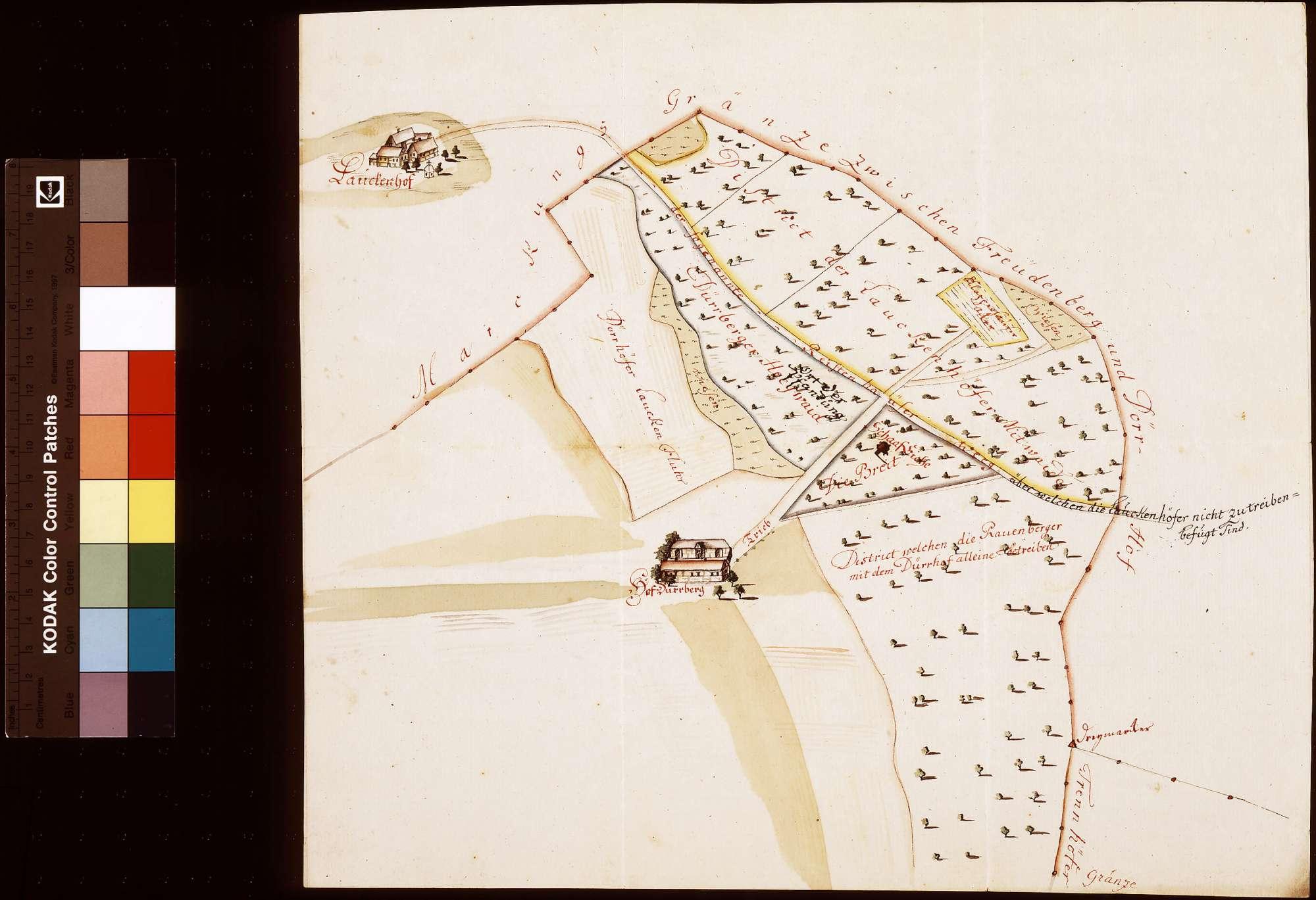 Lageplan von Dürrhof und Laukenhof bei Rauenberg, Bild 1