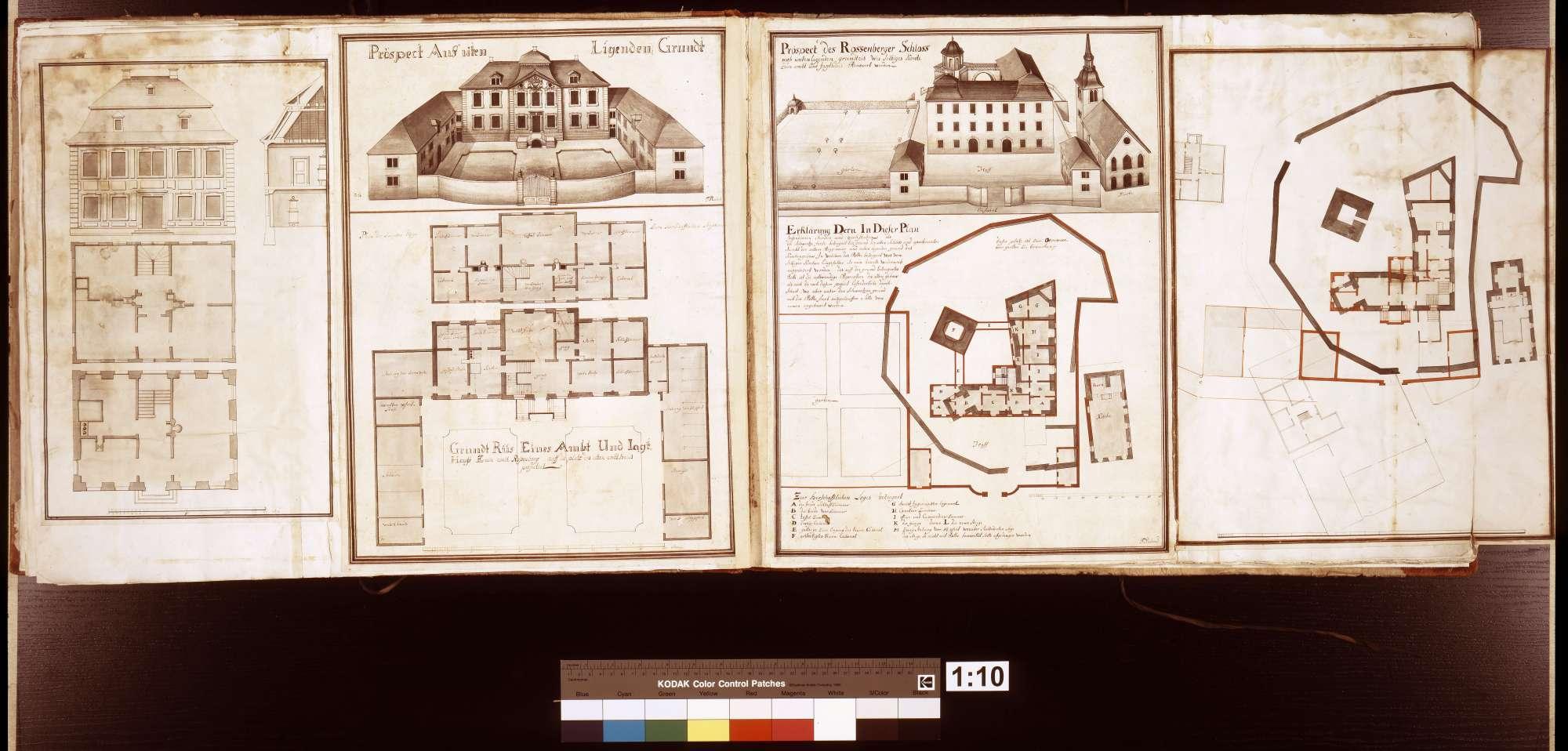 Grundriss eines Amt- und Jagdhauses zum Amt Rosenberg auf dem Platz des alten Amtshauses. - Prospekt aus unten liegendem Grund, S. 10b linke Seite rechts
