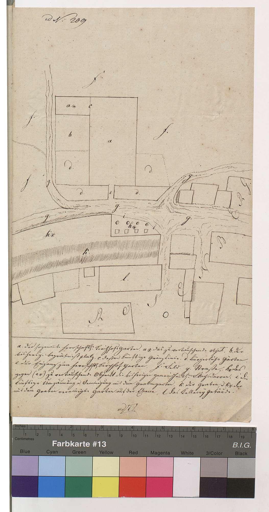 Handzeichnung der löwensteinischen Gebäude und Grundstücksverhältnisse in [Rosenberg], Bild 1